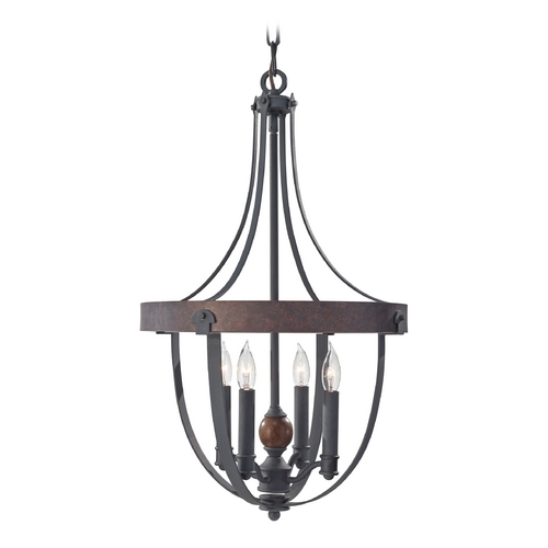 Feiss Lighting Pendant Light in Charcoal / Brick / Acorn Finish F2798/4AF/CBA