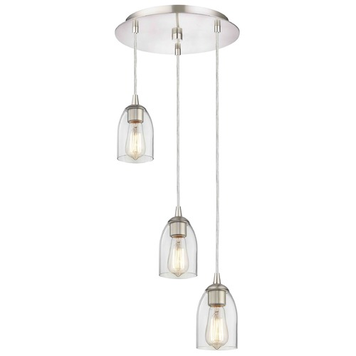 Design Classics Lighting Satin Nickel Multi-Light Pendant with Clear Dome Glass and 3-Lights 583-09 GL1040D