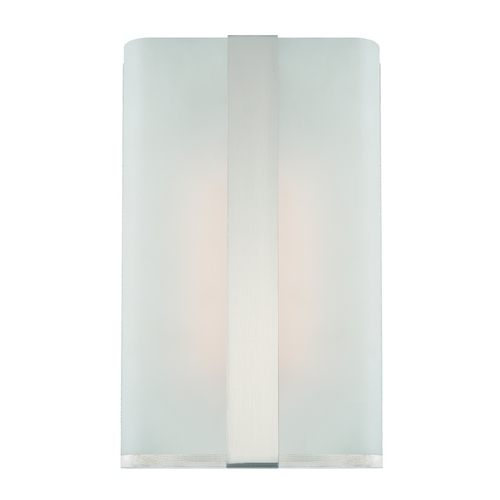 Designers Fountain Lighting Modern LED Sconce Wall Light with White Glass in Satin Platinum Finish LED6071-SP