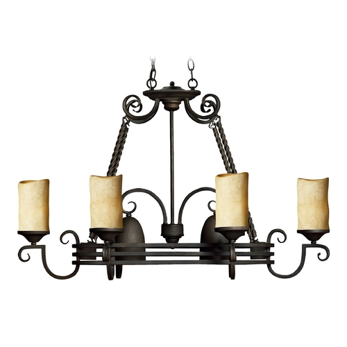 Hinkley Lighting Chandelier with Brown Glass in Olde Black Finish 4016OL
