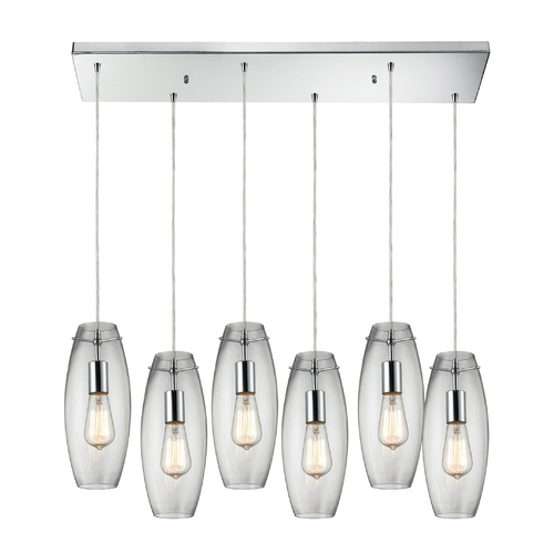 Elk Lighting Multi-Light Pendant Light with Clear Glass and 6-Lights 60054-6RC