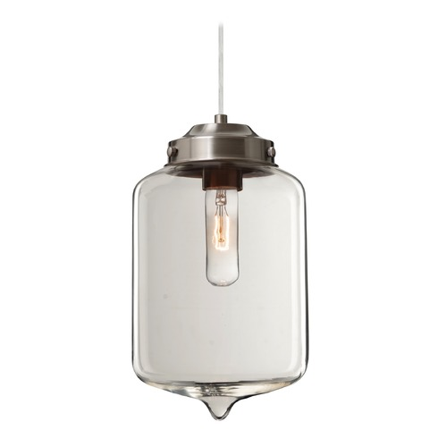 Besa Lighting Besa Lighting Olin Satin Nickel Mini-Pendant Light with Cylindrical Shade 1JT-OLINCL-SN