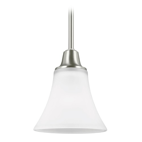 Sea Gull Lighting Sea Gull Lighting Metcalf Brushed Nickel Mini-Pendant Light with Bell Shade 6113201-962