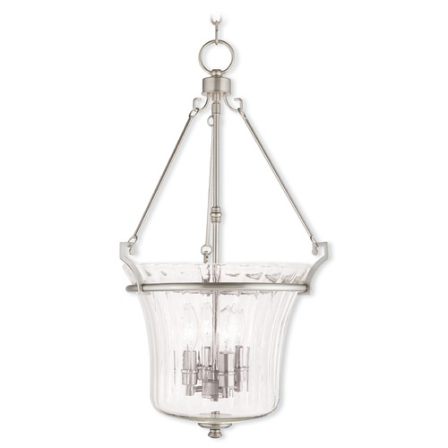 Livex Lighting Livex Lighting Cortland Brushed Nickel Pendant Light with Fluted Shade 50926-91