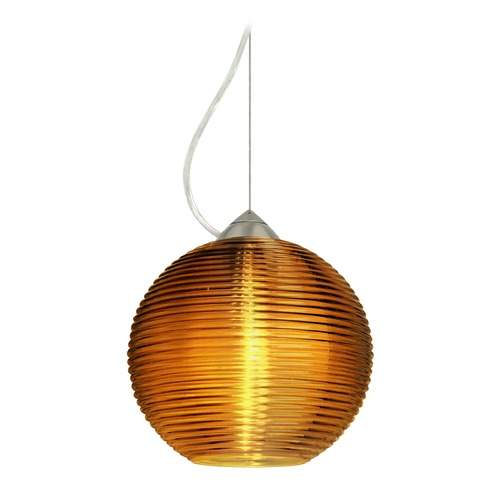 Besa Lighting Besa Lighting Kristall Satin Nickel LED Pendant Light with Globe Shade 1KX-461682-LED-SN