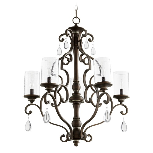Quorum Lighting Seeded Glass Crystal Chandelier Copper Quorum Lighting 6073-5-39
