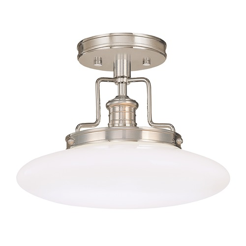 Hudson Valley Lighting Modern Semi-Flushmount Light with White Glass in Satin Nickel Finish 4202-SN