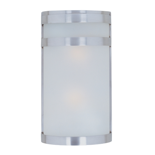 Maxim Lighting Modern Outdoor Wall Light with White Glass in Stainless Steel Finish 5002FTSST