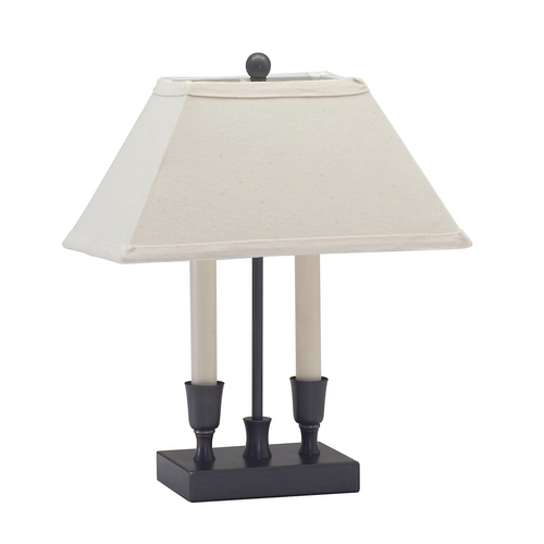 House of Troy Lighting Table Lamp with White Shades in Oil Rubbed Bronze Finish CH880-OB