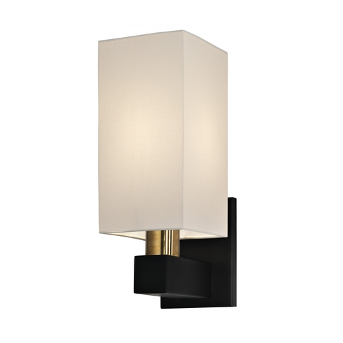 Sonneman Lighting Modern Sconce Wall Light with White Shade in Natural Brass and Black Finish 6122.43