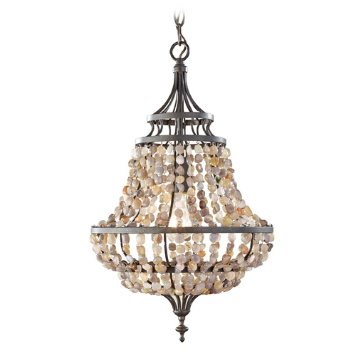 Feiss Lighting Pendant Light in Rustic Iron Finish F2799/1RI