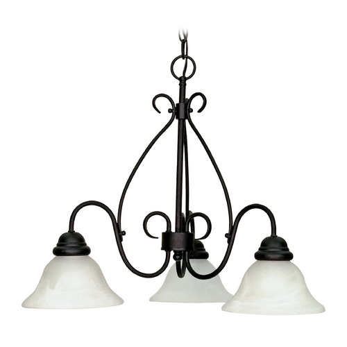 Nuvo Lighting Chandelier with Alabaster Glass in Textured Black Finish 60/378