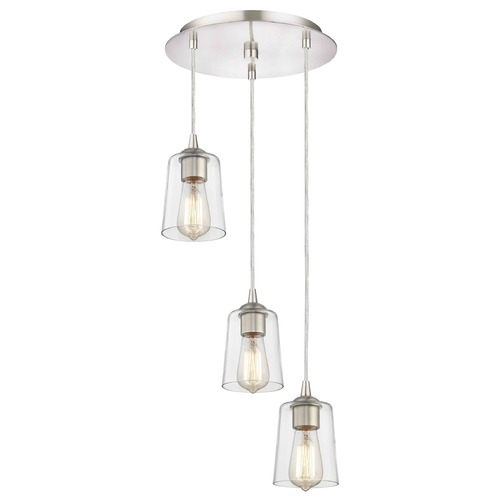 Design Classics Lighting Satin Nickel Multi-Light Pendant with Clear Cylinder Glass and 3-Lights 583-09 GL1027-CLR