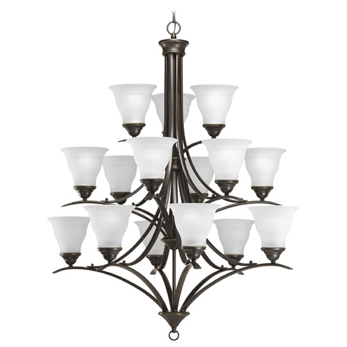 Progress Lighting Progress Chandelier with White Glass in Antique Bronze Finish P4365-20