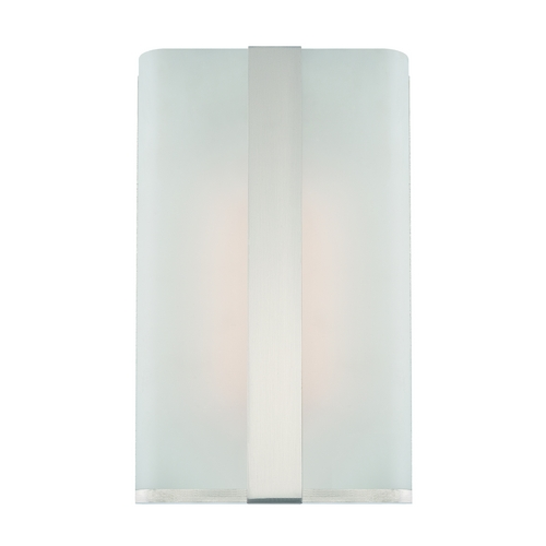 Designers Fountain Lighting Modern LED Sconce Wall Light with White Glass in Satin Platinum Finish LED6070-SP
