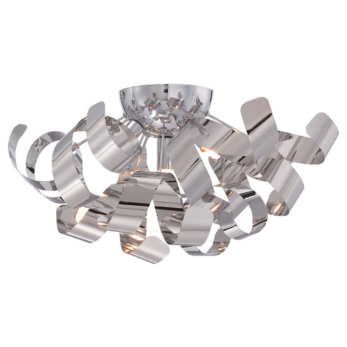 Quoizel Lighting Mid-Century Modern Flushmount Cluster Light Chrome Ribbons by Quoizel Lighting RBN1616C