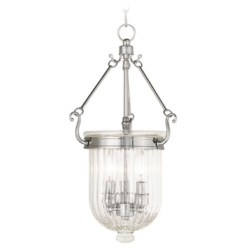 Livex Lighting Livex Lighting Coventry Polished Nickel Mini-Pendant Light with Bowl / Dome Shade 50515-35