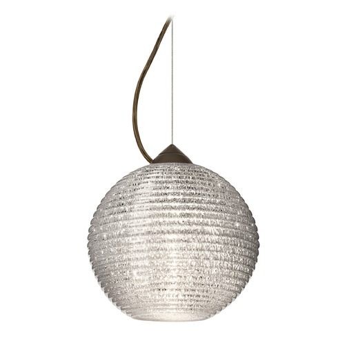 Besa Lighting Besa Lighting Kristall Ribbed Glass Bronze LED Pendant Light 1KX-4616GL-LED-BR