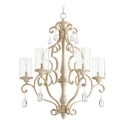Quorum Lighting Seeded Glass Crystal Chandelier White Quorum Lighting 6073-5-70