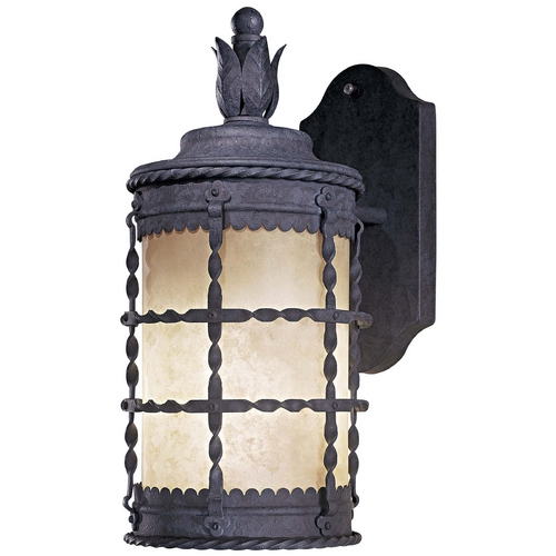 Minka Lavery Outdoor Wall Light with White Glass in Spanish Iron Finish 8880-A39-PL