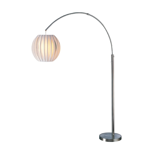 Lite Source Lighting Modern Arc Lamp with White in Polished Steel Finish LS-8870PS/WHT