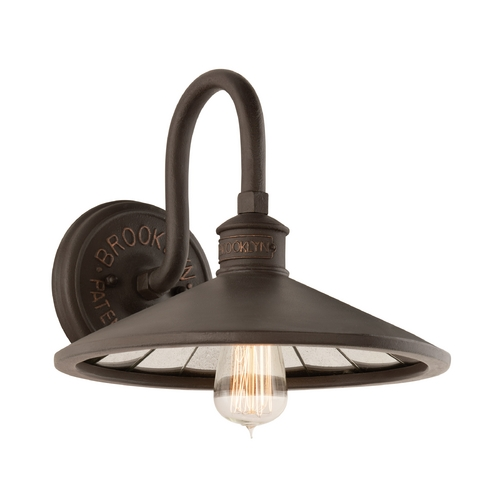 Troy Lighting Industrial Wall Sconce with Vintage Edison Bulb in Bronze Finish B3142