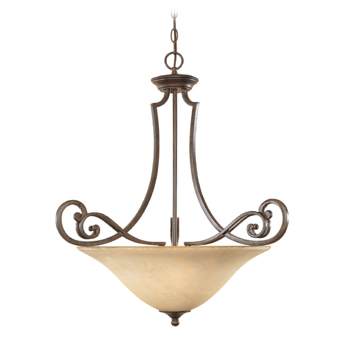 Designers Fountain Lighting Pendant Light with Amber Glass in Forged Sienna Finish 81831-FSN