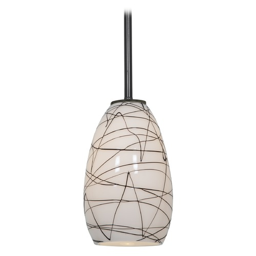 Access Lighting Modern Mini-Pendant Light with White Glass 28012-2R-ORB/BLWH