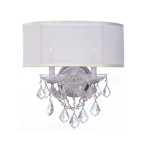 Crystorama Lighting Crystal Sconce Wall Light with White Shades in Polished Chrome Finish 4482-CH-SMW-CL-MWP