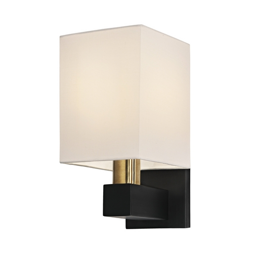 Sonneman Lighting Modern Sconce Wall Light with White Shade in Natural Brass and Black Finish 6120.43