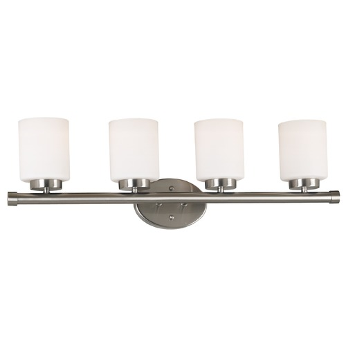 Kenroy Home Lighting Modern Bathroom Light with White Glass in Brushed Steel Finish 80404BS