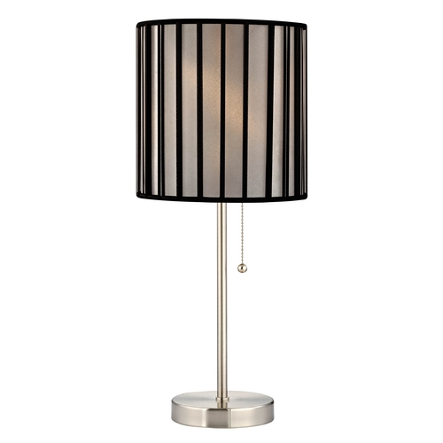 Design Classics Lighting Pull-Chain Table Lamp with Black Opaque Lamp Shade 1900-09 SH9546