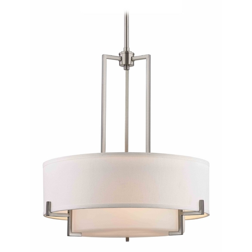 Design Classics Lighting Modern Drum Pendant Light with White Glass in Satin Nickel Finish 7013-09