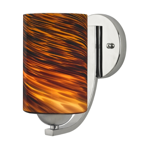 Design Classics Lighting Sconce with Brown Art Glass in Chrome Finish 585-26 GL1023C