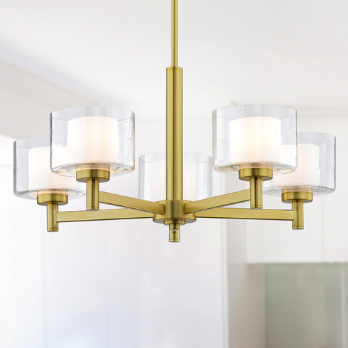 Design Classics Lighting Modern Satin Brass 5 Light Chandelier with Satin White and Clear Seeded Glass 2945-12