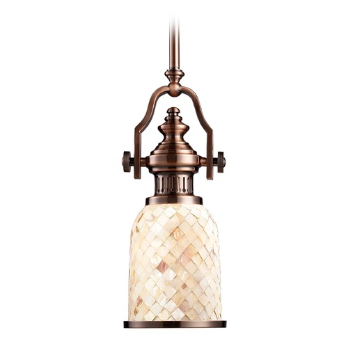 Elk Lighting Elk Lighting Chadwick Antique Copper LED Mini-Pendant Light with Bowl / Dome Shade 66442-1-LED
