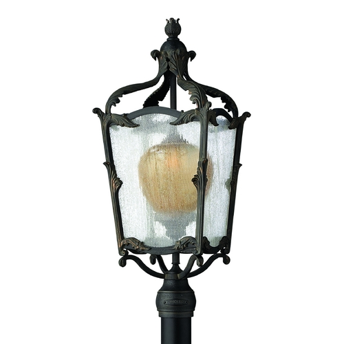 Hinkley Lighting Post Light with Clear Glass in Aged Iron Finish 1421AI