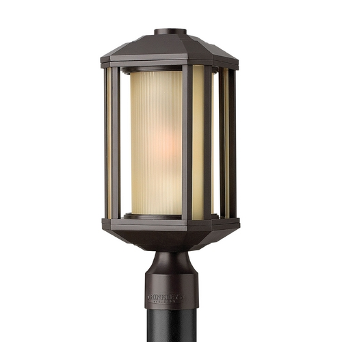 Hinkley Lighting Post Light with Amber Glass in Bronze Finish 1391BZ-GU24