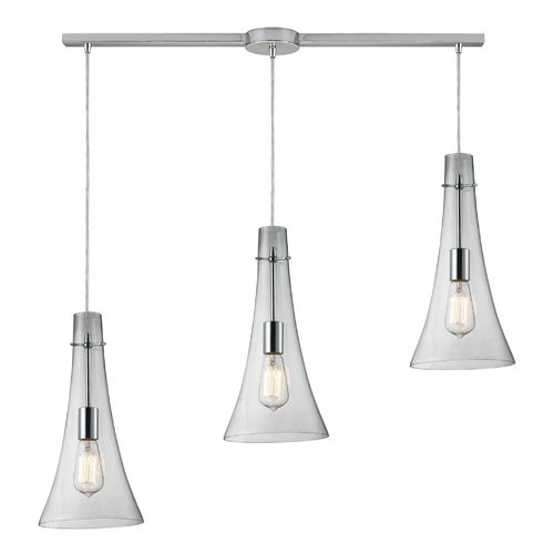 Elk Lighting Multi-Light Pendant Light with Clear Glass and 3-Lights 60055-3L