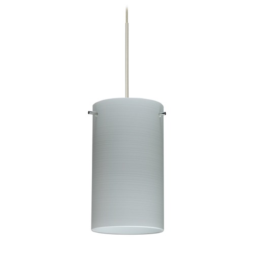 Besa Lighting Besa Lighting Stilo 7 Satin Nickel Mini-Pendant Light with Cylindrical Shade 1XT-4404KR-SN