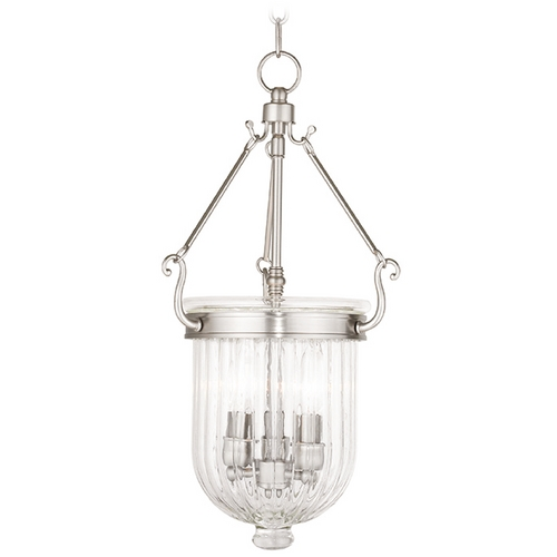 Livex Lighting Livex Lighting Coventry Brushed Nickel Mini-Pendant Light with Bowl / Dome Shade 50515-91