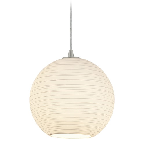 Access Lighting Access Lighting Japanese Lantern Brushed Steel Pendant Light with Bowl / Dome Shade 28088-3C-BS/WHTLN
