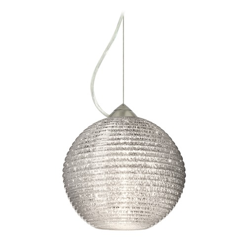 Besa Lighting Besa Lighting Kristall Satin Nickel LED Pendant Light with Globe Shade 1KX-4616GL-LED-SN