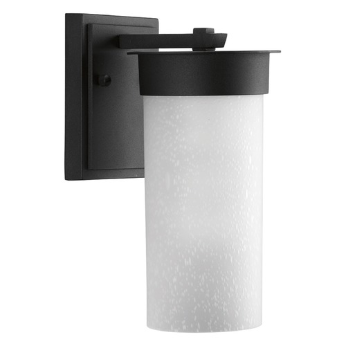Progress Lighting Etched Seeded Glass Outdoor Wall Light Black Progress Lighting P5624-31