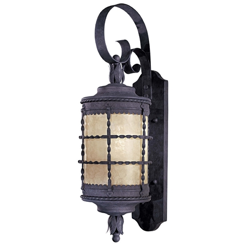 Minka Lavery Outdoor Wall Light with Beige / Cream Glass in Spanish Iron Finish 8881-A39-PL