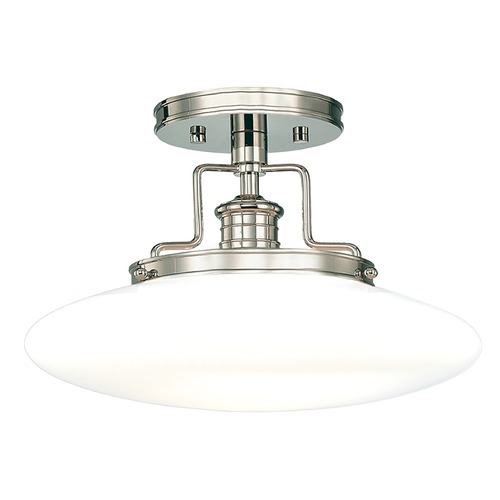 Hudson Valley Lighting Modern Semi-Flushmount Light with White Glass in Polished Nickel Finish 4205-PN