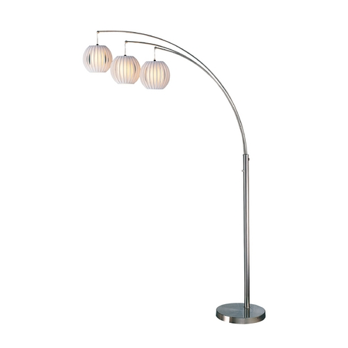 Lite Source Lighting Modern Arc Lamp with White in Polished Steel Finish LS-8871PS/WHT