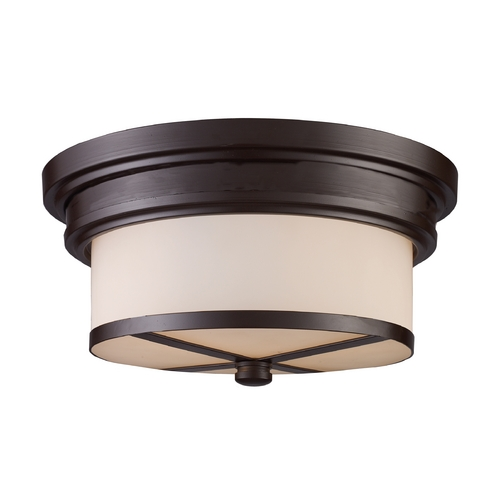 Elk Lighting Modern Flushmount Light with White Glass in Oiled Bronze Finish 15025/2
