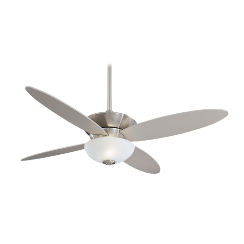 Minka Aire Modern Ceiling Fan with Light with White Glass in Brushed Nickel Finish F514-BN