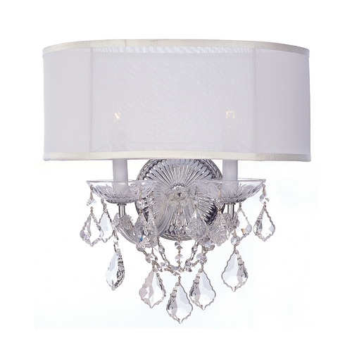 Crystorama Lighting Crystal Sconce Wall Light with White Shades in Polished Chrome Finish 4482-CH-SMW-CL-S